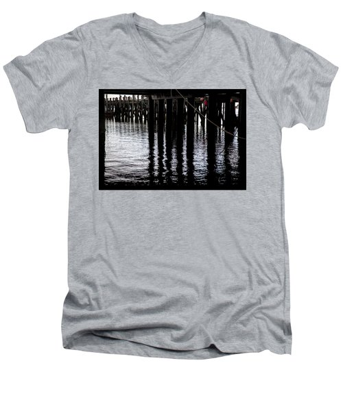 Men's V-Neck T-Shirt featuring the photograph Provincetown Wharf Reflections by Charles Harden