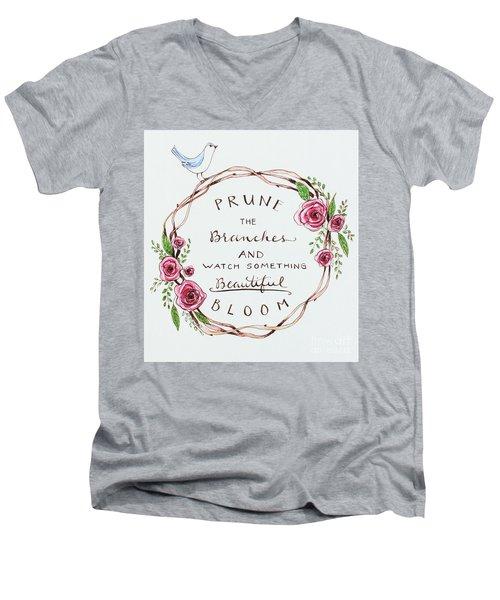 Pruning Men's V-Neck T-Shirt by Elizabeth Robinette Tyndall