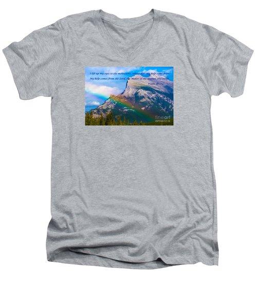 Psalm 121   1-2 Men's V-Neck T-Shirt by John Roberts