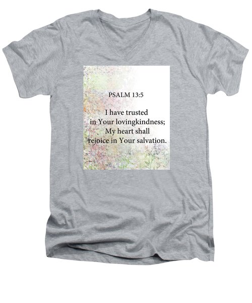 Men's V-Neck T-Shirt featuring the digital art Psalm 13 5 by Trilby Cole