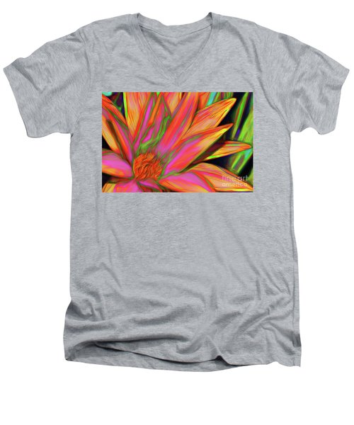 Men's V-Neck T-Shirt featuring the photograph Psychedelic Daisy By Kaye Menner by Kaye Menner