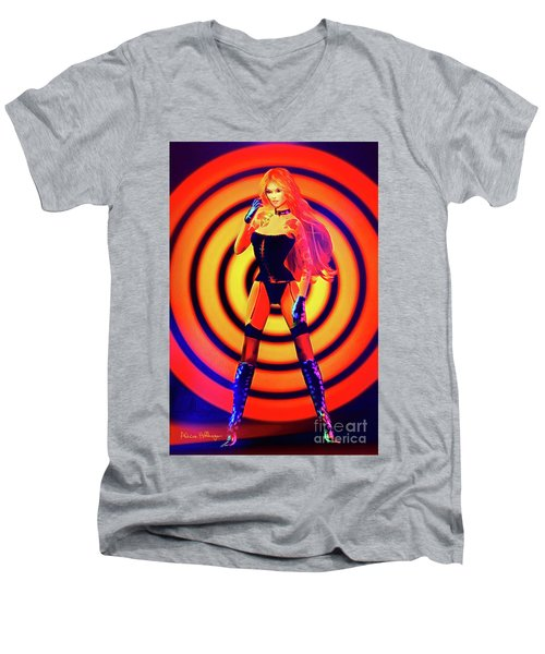 Psychedelic Hypnotic Pin-up Girl Men's V-Neck T-Shirt