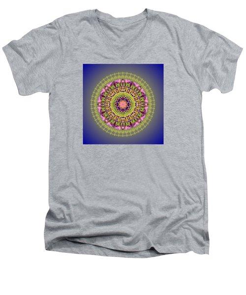 Psychedelic Mandala 001 A Men's V-Neck T-Shirt by Larry Capra