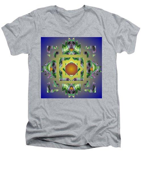 Psychedelic Mandala 002 A Men's V-Neck T-Shirt by Larry Capra