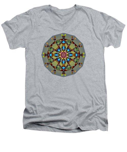 Psychedelic Mandala 010 B Men's V-Neck T-Shirt by Larry Capra