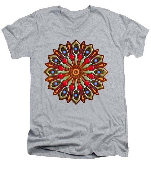 Psychedelic Mandala 012 A Men's V-Neck T-Shirt by Larry Capra