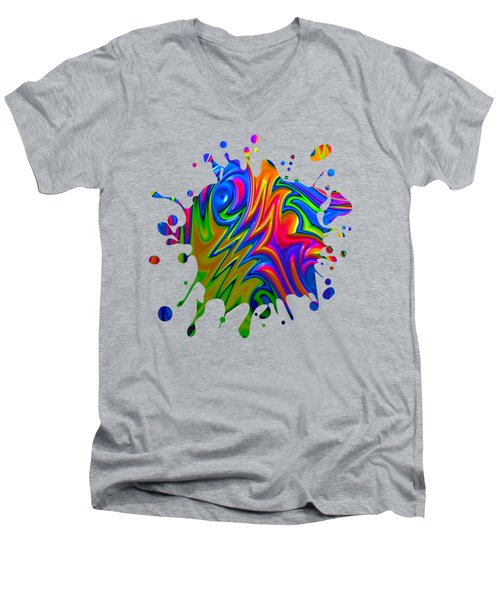 Psychedelic Rainbow Fractal Men's V-Neck T-Shirt