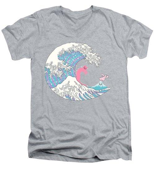 Psychodelic Bubblegum Kunagawa Surfer Cat Men's V-Neck T-Shirt by Julia Jasiczak