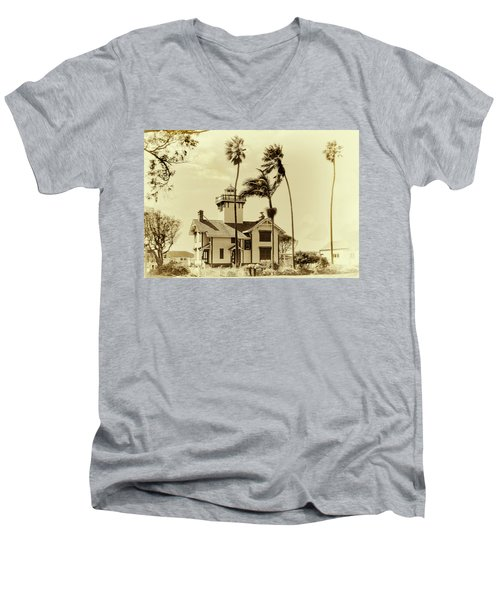 Pt. Fermin Lighthouse Men's V-Neck T-Shirt by Joseph Hollingsworth