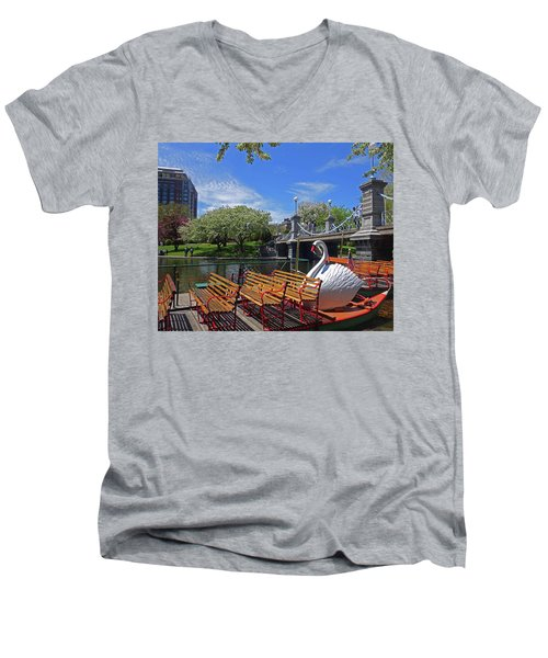 Public Garden Swan Boat In The Spring Boston Ma Men's V-Neck T-Shirt