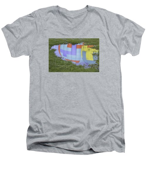 Puddle Reflections Men's V-Neck T-Shirt by Linda Geiger