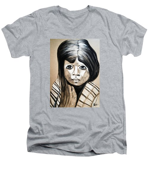 Men's V-Neck T-Shirt featuring the drawing Pueblo Girl by Ayasha Loya