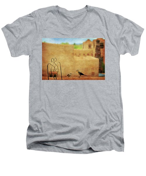 Men's V-Neck T-Shirt featuring the photograph Pueblo Village Settlers by Diana Angstadt
