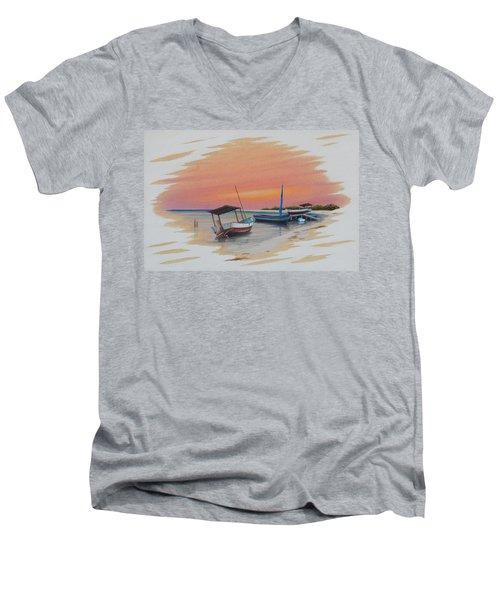 Puerto Progreso V Men's V-Neck T-Shirt by Angel Ortiz