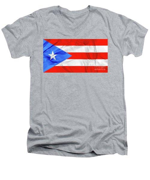 Puerto Rico Flag Men's V-Neck T-Shirt