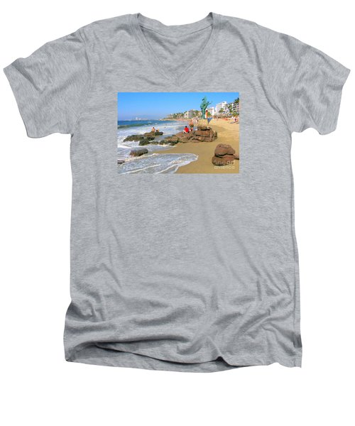 Puerto Vallarta Beachfront Men's V-Neck T-Shirt
