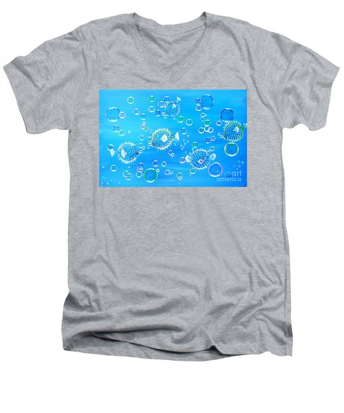 Pufferfish Playtime Men's V-Neck T-Shirt