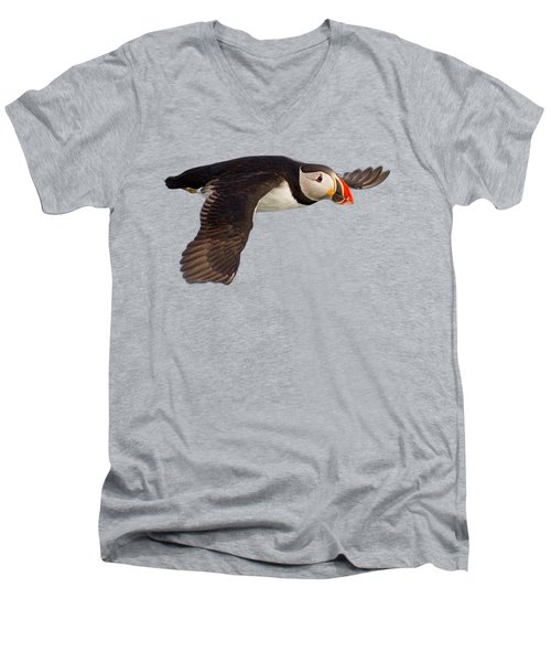 Puffin In Flight T-shirt Men's V-Neck T-Shirt by Tony Mills