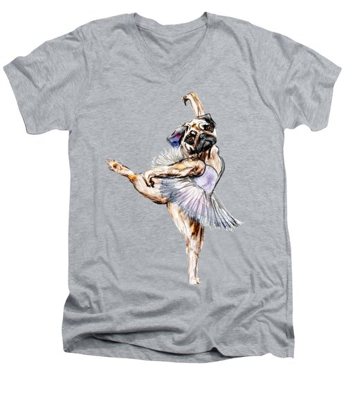 Pug Ballerina Dog Men's V-Neck T-Shirt by Notsniw Art