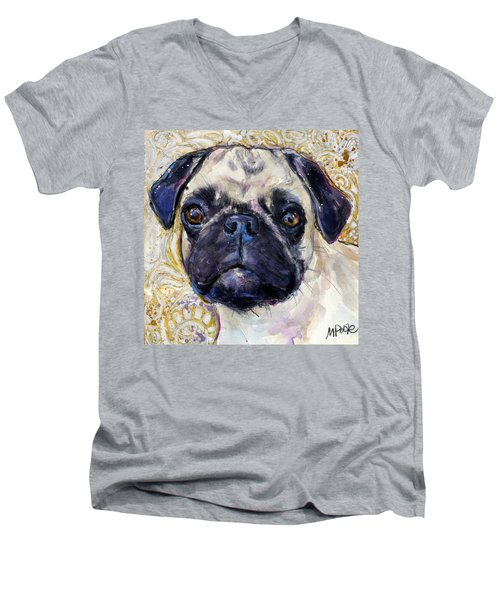 Men's V-Neck T-Shirt featuring the painting Pug Mug by Molly Poole