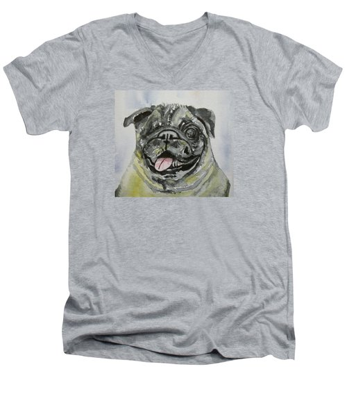 One Eyed Pug Portrait Men's V-Neck T-Shirt