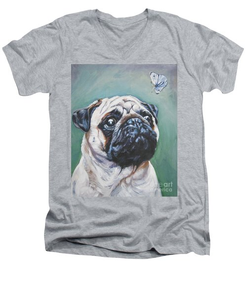 Pug With Butterfly Men's V-Neck T-Shirt by Lee Ann Shepard