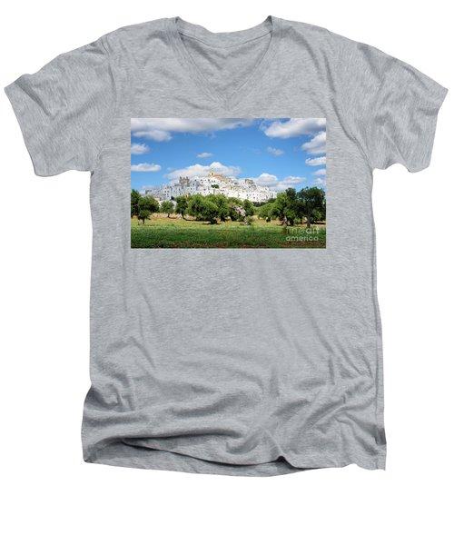 Puglia White City Ostuni With Olive Trees Men's V-Neck T-Shirt