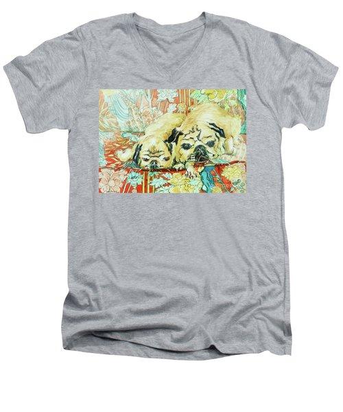 Pugs On A Chinese Print Sofa Men's V-Neck T-Shirt