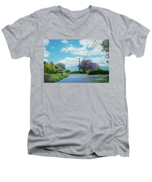 Pulehuiki Road Upcountry Kula Maui Hawaii Men's V-Neck T-Shirt by Sharon Mau