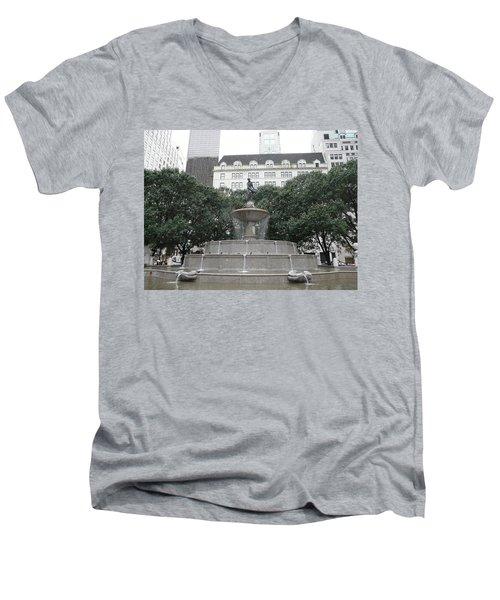 Pulitzer Fountain Men's V-Neck T-Shirt by Valerie Ornstein