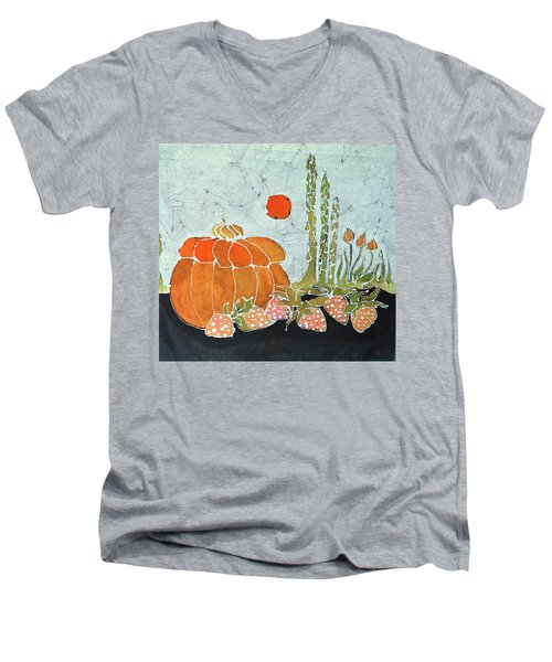 Pumpkin And Asparagus Men's V-Neck T-Shirt