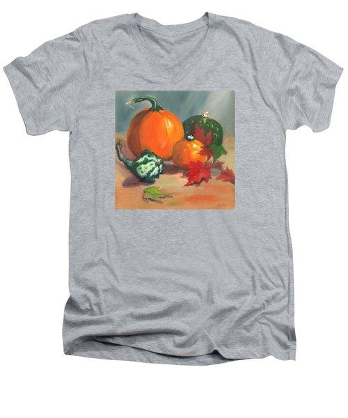 Pumpkins Men's V-Neck T-Shirt by Susan Thomas