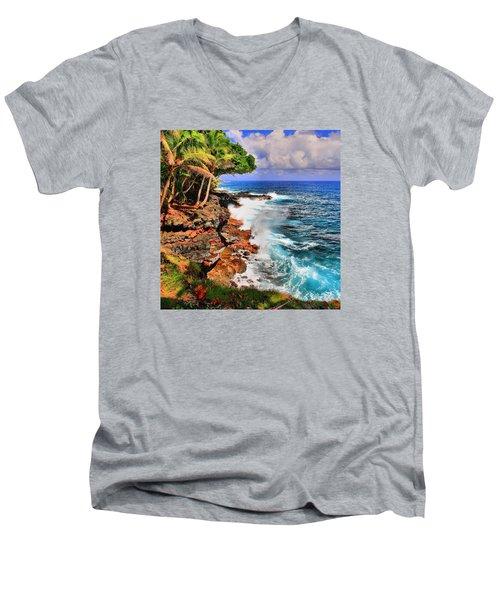 Men's V-Neck T-Shirt featuring the photograph Puna Coast Hawaii by DJ Florek