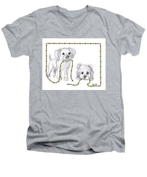 Puppies Greeting Card Men's V-Neck T-Shirt