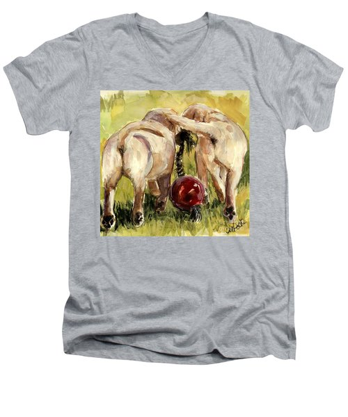Men's V-Neck T-Shirt featuring the painting Puppy Butts by Molly Poole