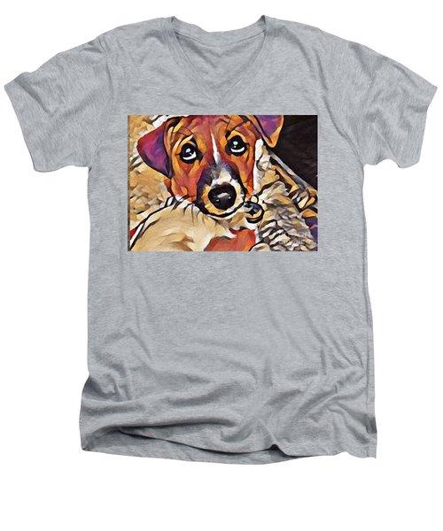 Puppy Eyes Men's V-Neck T-Shirt by Holly Martinson