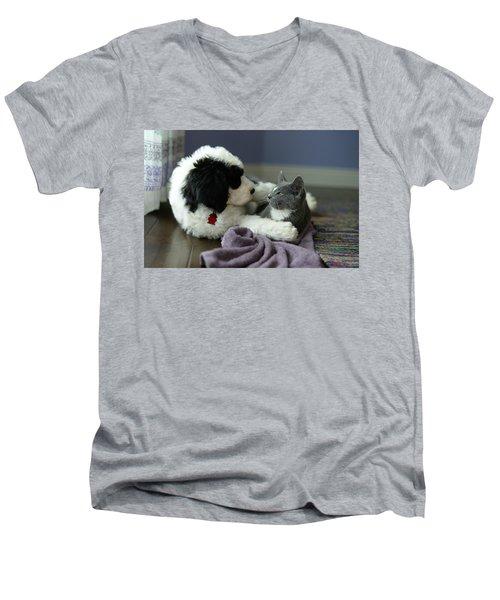 Puppy Love Men's V-Neck T-Shirt by Linda Mishler