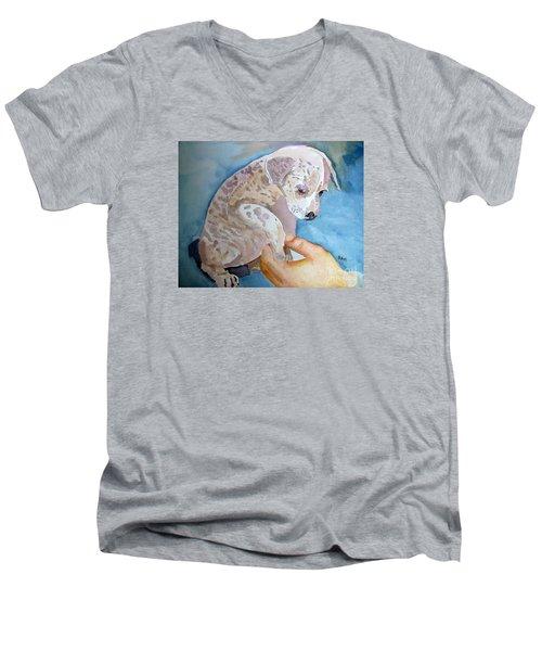 Puppy Shaking Hands Men's V-Neck T-Shirt
