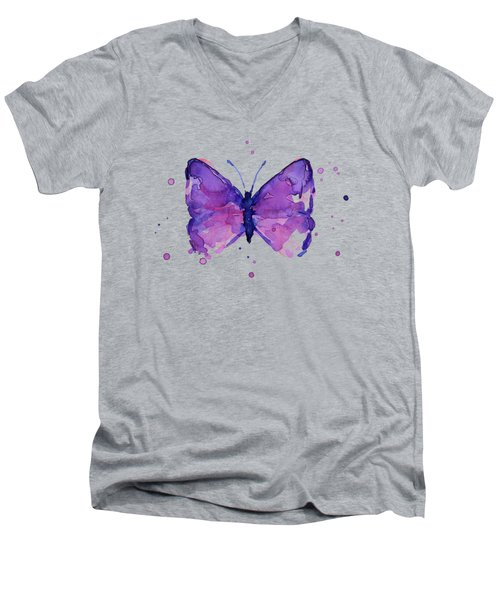 Purple Abstract Butterfly Men's V-Neck T-Shirt