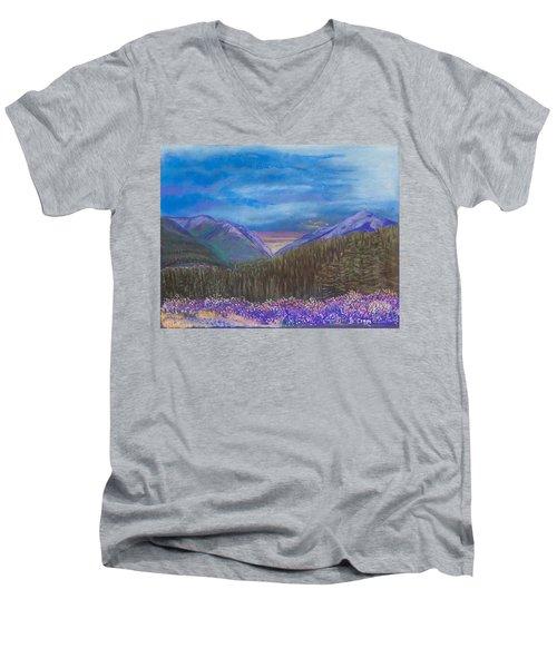 Purple Alaska Men's V-Neck T-Shirt
