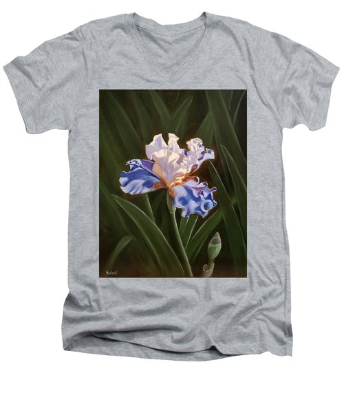 Purple And White Iris Men's V-Neck T-Shirt