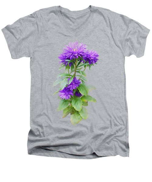 Men's V-Neck T-Shirt featuring the painting Purple Aster by Ivana