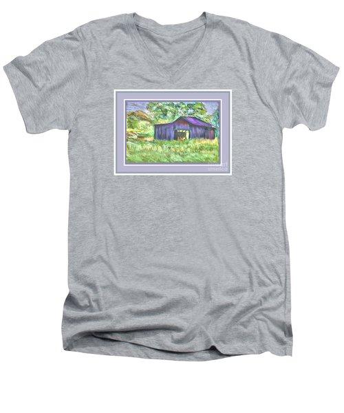 Men's V-Neck T-Shirt featuring the photograph Purple Barn Grey Border by Shirley Moravec