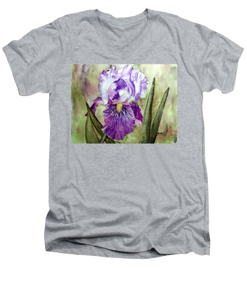 Men's V-Neck T-Shirt featuring the painting Purple Beauty by Carol Grimes