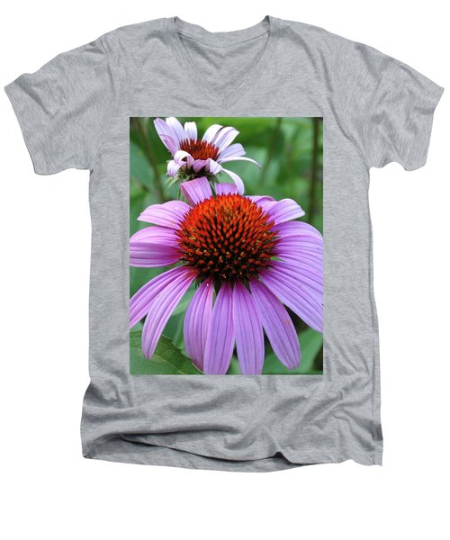 Purple Coneflowers Men's V-Neck T-Shirt by Rebecca Overton