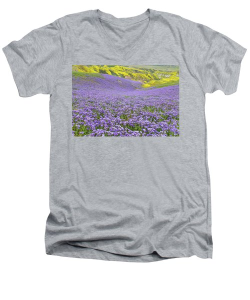 Men's V-Neck T-Shirt featuring the photograph Purple  Covered Hillside by Marc Crumpler