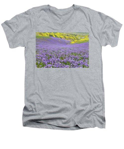 Purple  Covered Hillside Men's V-Neck T-Shirt