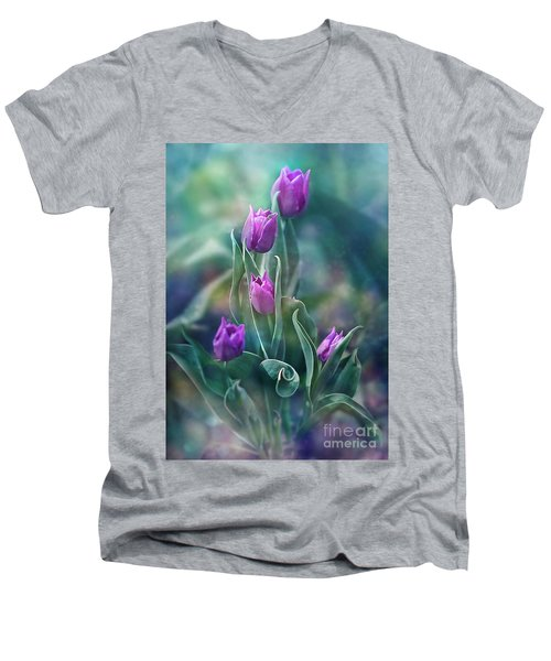 Purple Dignity Men's V-Neck T-Shirt by Agnieszka Mlicka