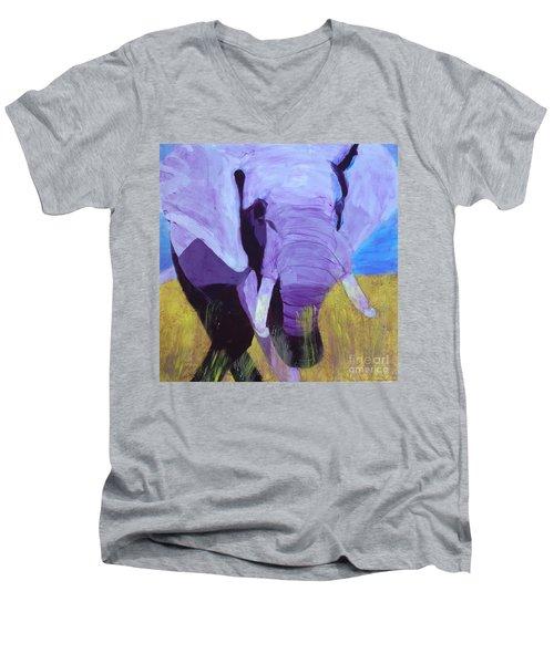 Purple Elephant Men's V-Neck T-Shirt by Donald J Ryker III