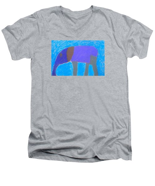 Men's V-Neck T-Shirt featuring the pastel Purple Elephant by Artists With Autism Inc